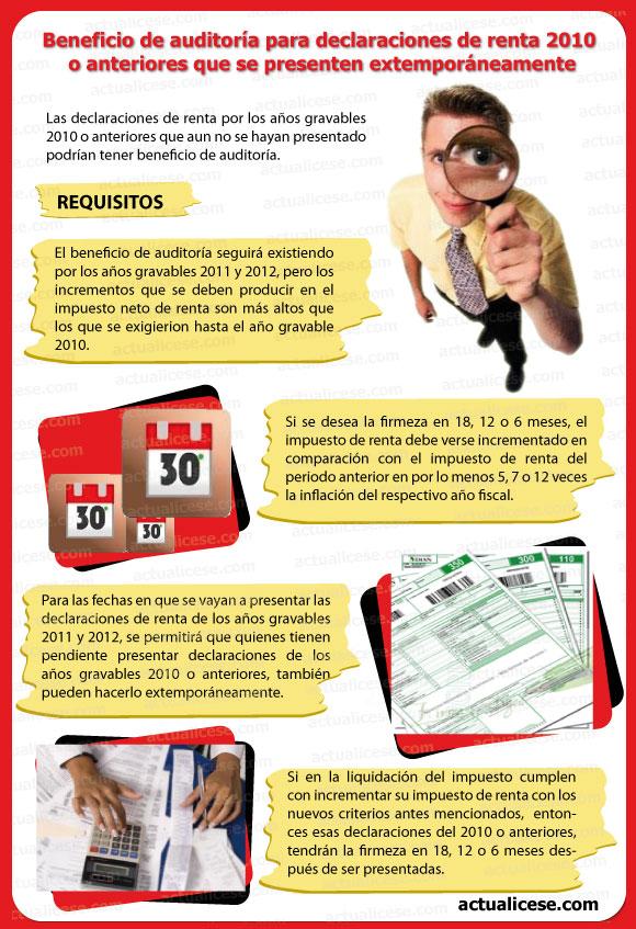 Declaraciones de renta 2010 o anteriores que se presenten extemporáneamente  tendrán beneficio de auditoría