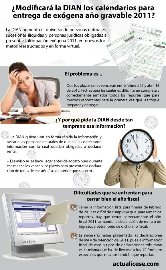 [Infografía] La DIAN, ¿modificará los calendarios para entrega de exógena año gravable 2011?