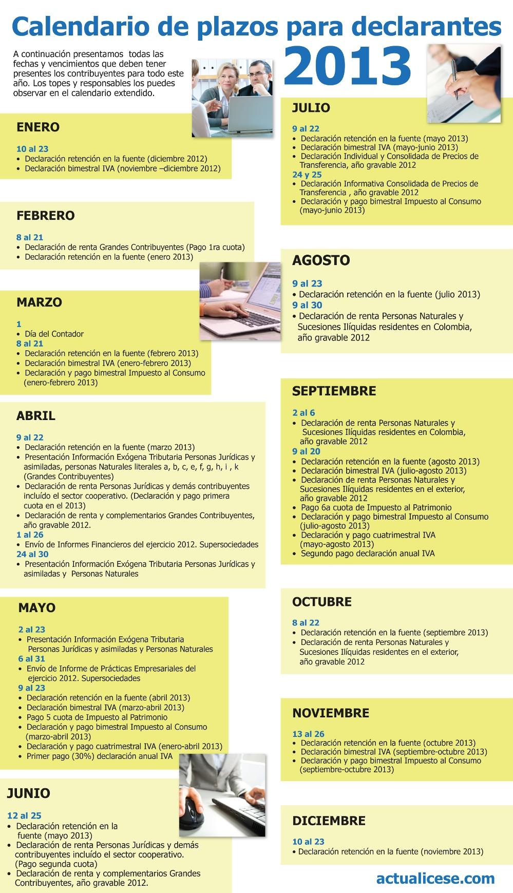 [Infografía] Calendario de plazos para declarantes 2013