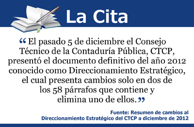 Resumen de cambios al Direccionamiento Estratégico del CTCP a diciembre de 2012