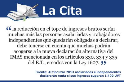 Al finalizar 2013 asalariados e independientes declararán renta si sus ingresos superan 1.400 UVT