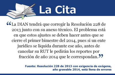 Resolución 228 de 2013 con exigencia de exógena año gravable 2014, está llena de errores