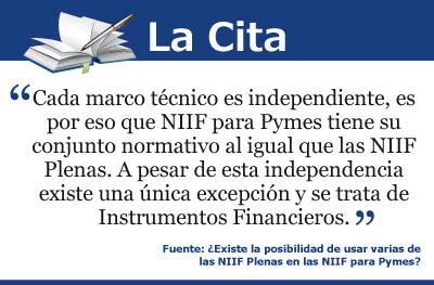 ¿Existe la posibilidad de usar varias de las NIIF Plenas en las NIIF para Pymes?