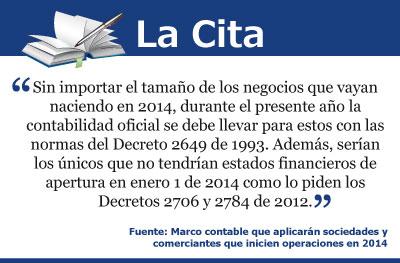 Marco contable que aplicarán sociedades y comerciantes que inicien operaciones en 2014