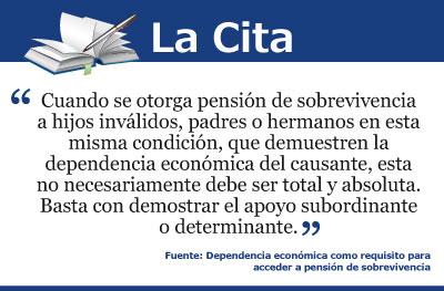 Dependencia económica como requisito para acceder a pensión de sobrevivencia