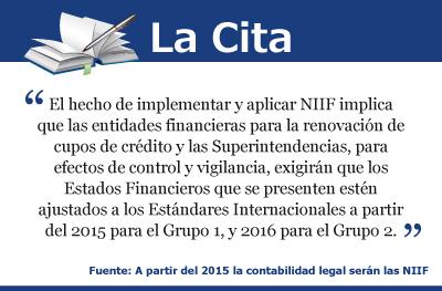 A partir del 2015 la contabilidad legal serán las NIIF (IFRS)
