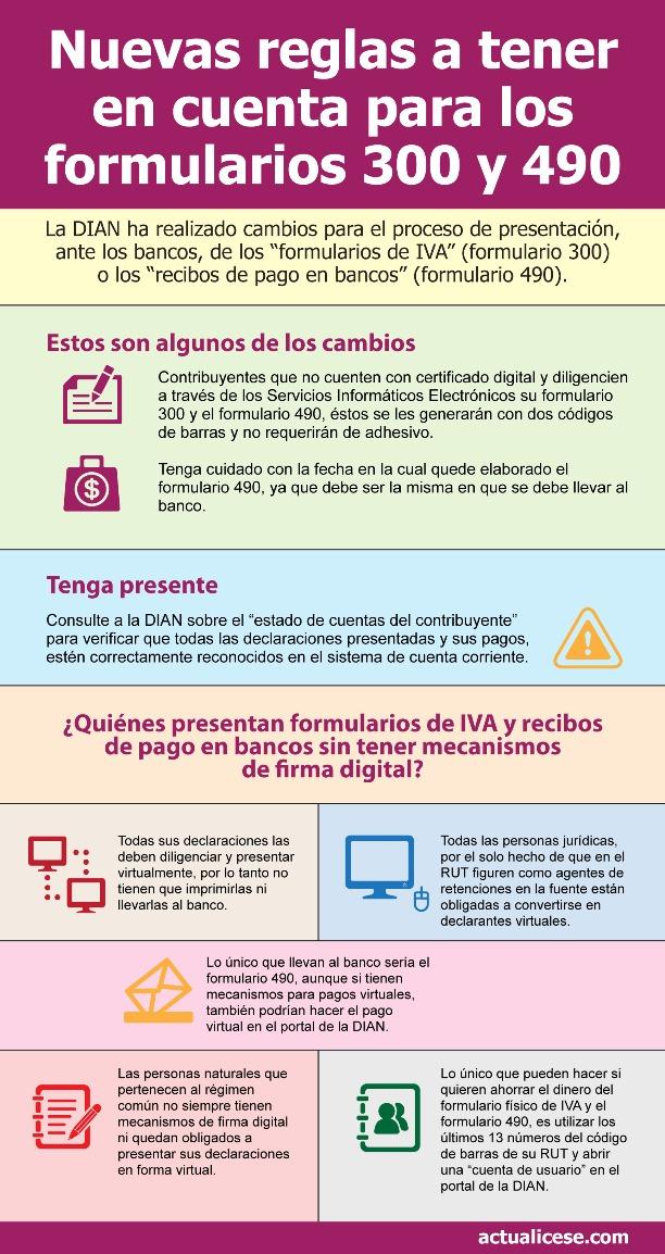 [Infografía] Atención con las reglas para formularios de IVA y recibos de pago en bancos impresos en portal de la DIAN