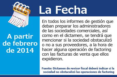 Dictamen de revisor fiscal deberá indicar si la sociedad no obstaculizó las operaciones de factoring