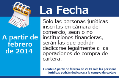 A partir de febrero de 2014 solo las personas jurídicas podrán dedicarse a la compra de cartera