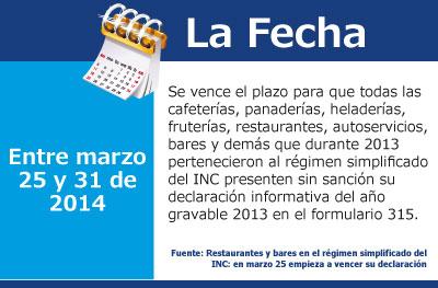 Restaurantes y bares en el régimen simplificado del INC: en marzo 25 empieza a vencer su declaración