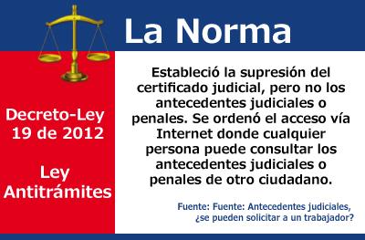 [La Norma] Certificado Judicial no, Antecedentes Judiciales sí