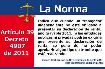 [Certificación] Certificación de No Declarantes de Renta 2011 para Trabajadores Independientes