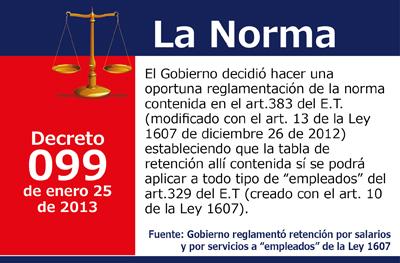 """Gobierno reglamentó retención por salarios y por servicios a """"empleados"""" de la Ley 1607"""