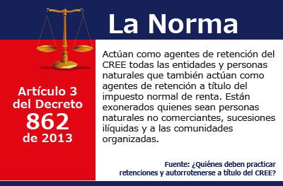 [La Norma] Ellos actúan como agentes de retención del CREE