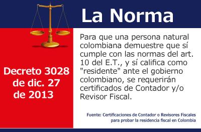 Certificaciones de Contador o Revisores Fiscales para probar la residencia fiscal en Colombia