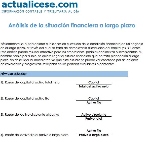 [Formato] Análisis de la situación financiera a largo plazo