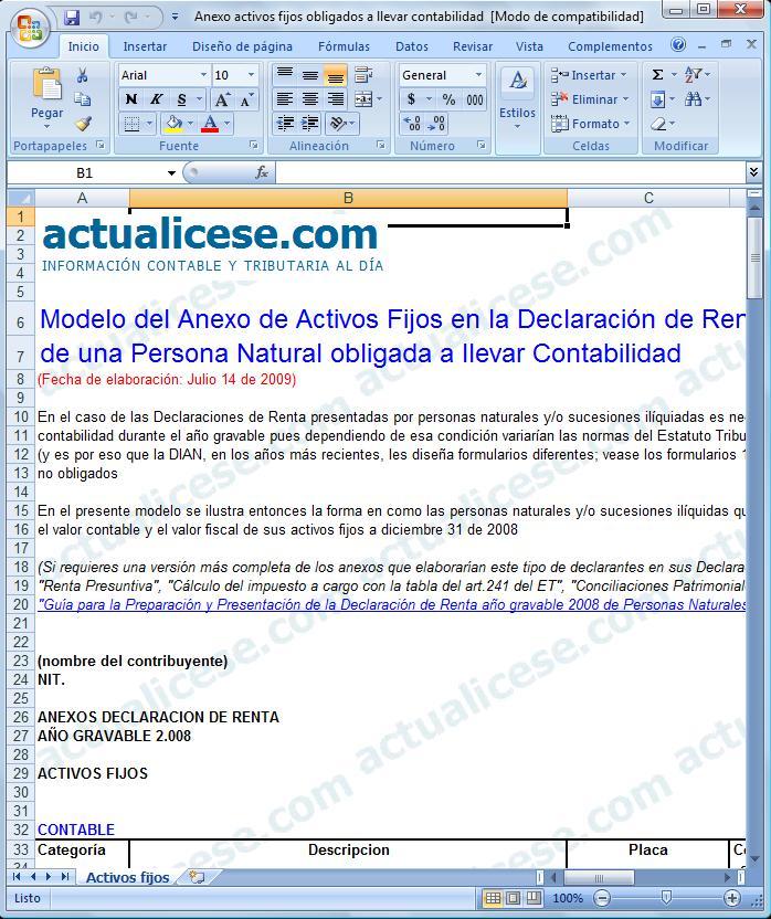 [Excel] Modelo del Anexo de Activos Fijos en la Declaración de Renta 2008 de una Persona Natural obligada a llevar Contabilidad