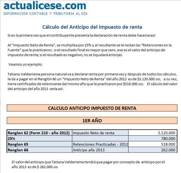 [Liquidador] Cálculo del anticipo del impuesto de renta