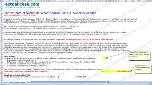 [Liquidador] Cálculo de la contribución 2011 a Supersociedades