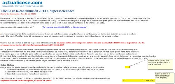 [Liquidador] Cálculo de la contribución 2013 a Supersociedades