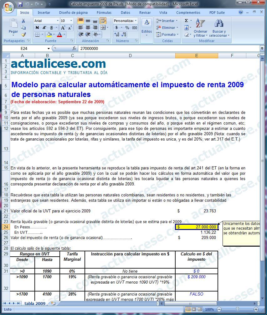 Modelo para Cálculo Automático de Impuesto de Renta 2009 – Personas Naturales