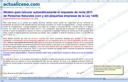 Modelo para calcular automáticamente el impuesto de renta 2011 de Personas Naturales (con y sin pequeñas empresas de la Ley 1429)