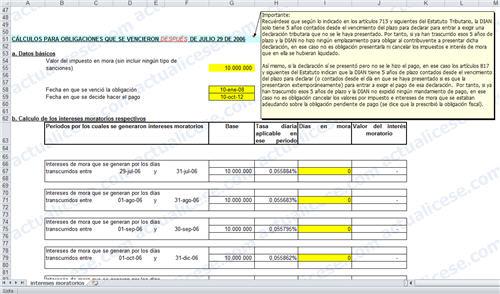 Plantilla en Excel para Cálculo de Intereses Moratorios según cambios de la ley 1066