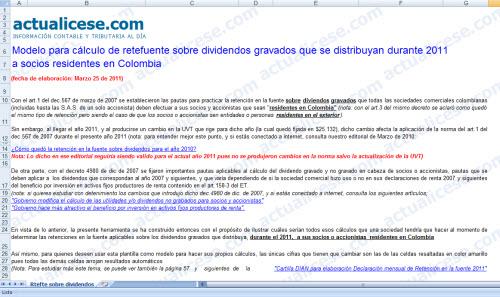Modelo cálculo Retención en la Fuente sobre dividendos gravados que se distribuyan durante 2011 a socios residentes en Colombia