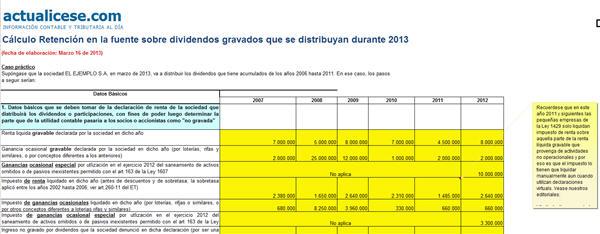 Cálculo Retención en la Fuente sobre dividendos gravados que se distribuyan durante 2013