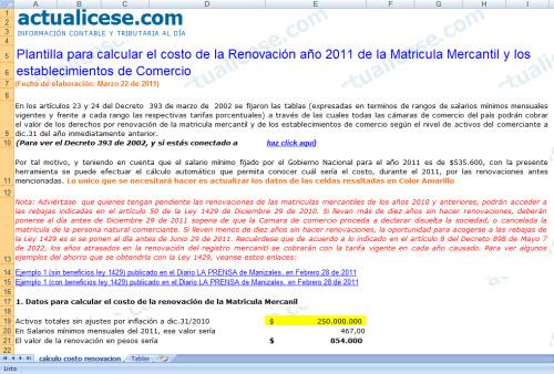 Plantilla para calcular costo de renovaciones 2011 en Cámara de Comercio