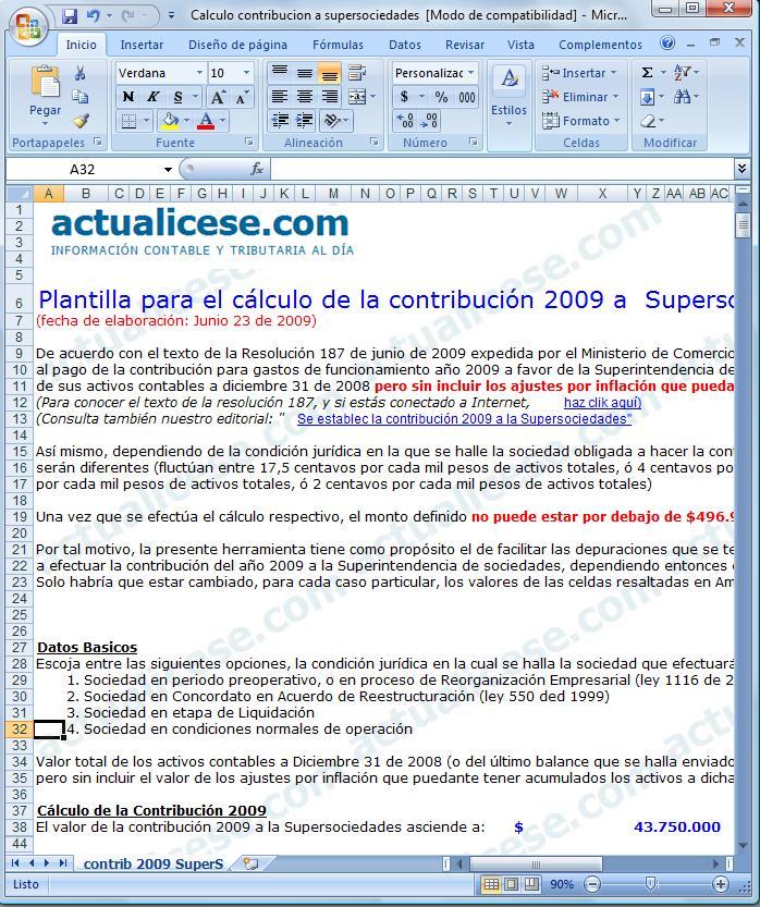 [Excel] Plantilla para el cálculo de la contribución 2009 a Supersociedades
