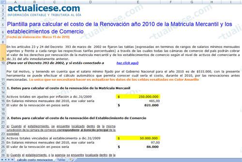 [Excel] Plantilla para calcular el costo de las renovaciones 2010 en Cámara de Comercio