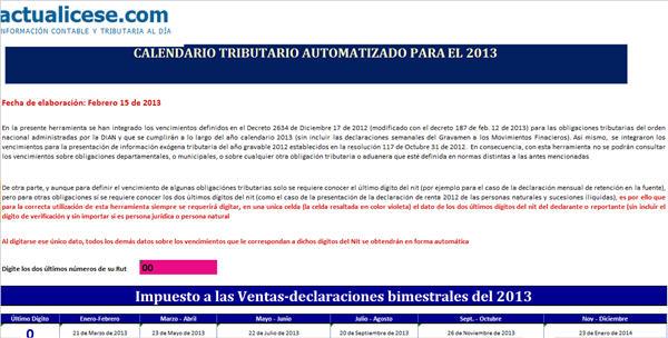 Calendario tributario automatizado para el 2013