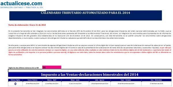 Calendario tributario automatizado para el 2014