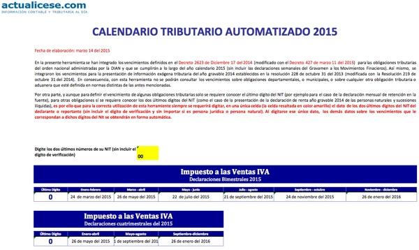 [Calendario] Calendario tributario automatizado para el 2015