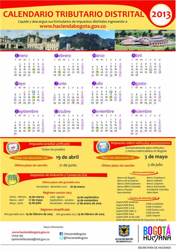 Calendario Tributario Distrital 2013