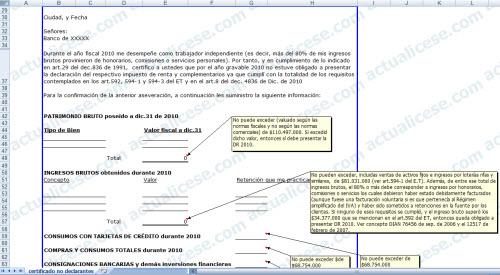 [Certificación] Certificación de No Declarantes de Renta 2010 para Trabajadores Independientes