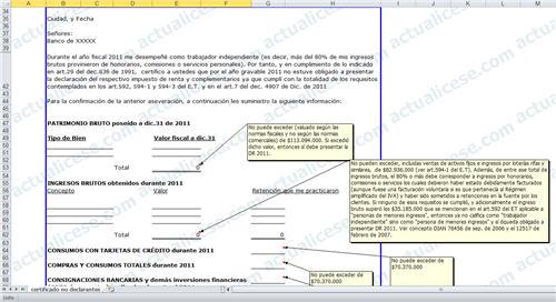 Certificación de No Declarantes de Renta 2011 para Trabajadores Independientes