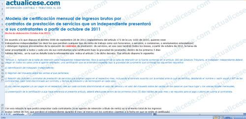 Modelo de certificación mensual de ingresos brutos por contratos de prestación de servicios que un independiente presentará a sus contratantes a partir de octubre de 2011