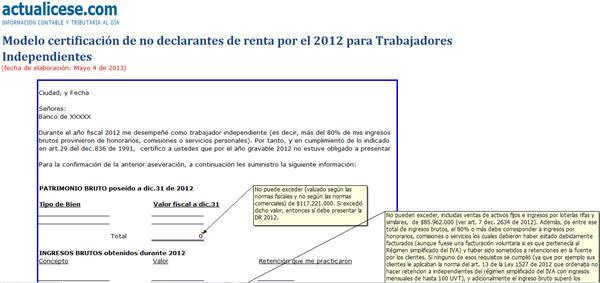 [Certificaciones] Certificación de no declarantes de renta 2012 para trabajadores independientes