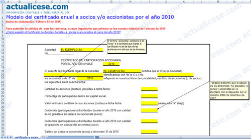 Modelo del certificado anual a socios y/o accionisas por el año 2010