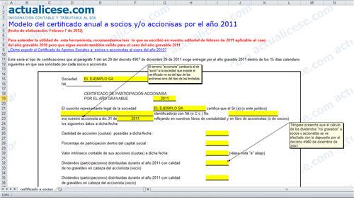 [Certificaciones] Certificado anual a socios y/o accionistas por el año 2011