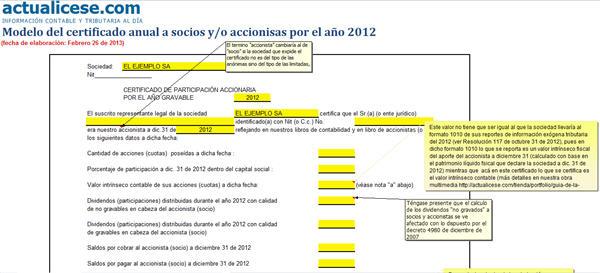 Certificado anual a socios y/o accionistas por el año 2012