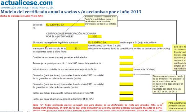 [Certificado] Modelo del certificado anual a socios y/o accionistas por el año 2013