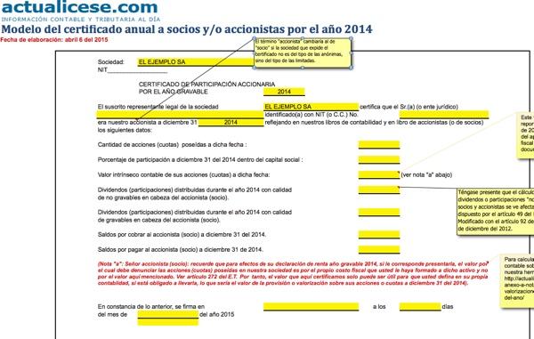 [Certificado] Modelo del certificado anual a socios y/o accionistas por el año 2014