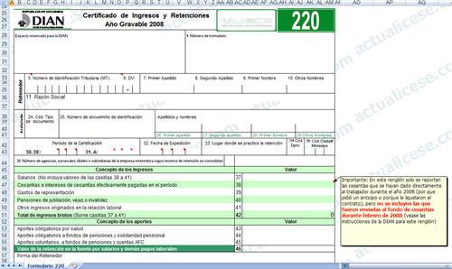 Certificado de Ingresos y Retenciones Laborales - Año 2008