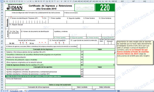 Plantilla para elaboración del Certificado de ingresos y retenciones laborales 2010