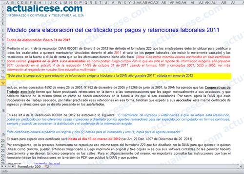 ... elaboración del Certificado de ingresos y retenciones laborales 2011