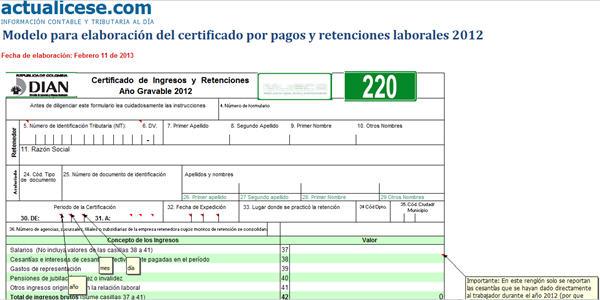 Modelo para elaboración del certificado por pagos y retenciones laborales 2012