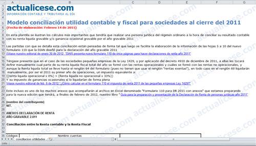 [Liquidador] Conciliación utilidad contable y fiscal para sociedades al cierre del 2011